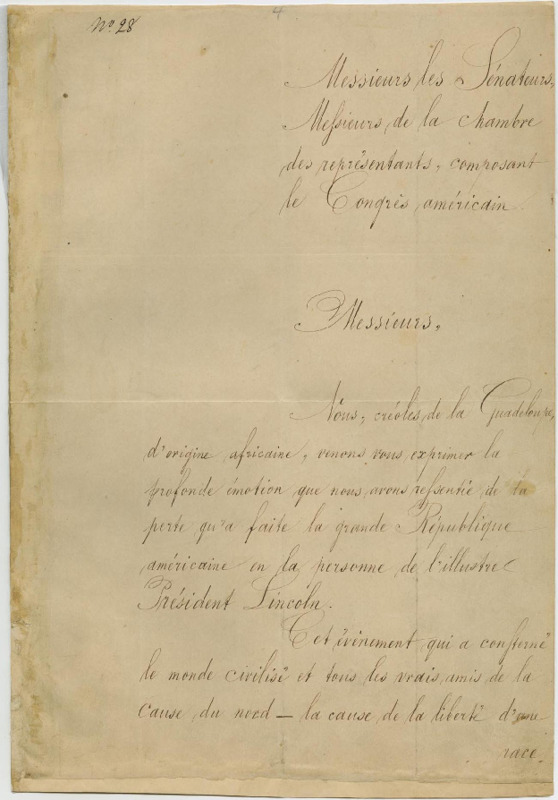 Creoles of Guadeloupe of African Descent to the Congress of the United States
