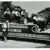Adeline Geo-Karis with Band Parade Float