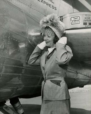 Mabel Kingston Green Next to Plane
